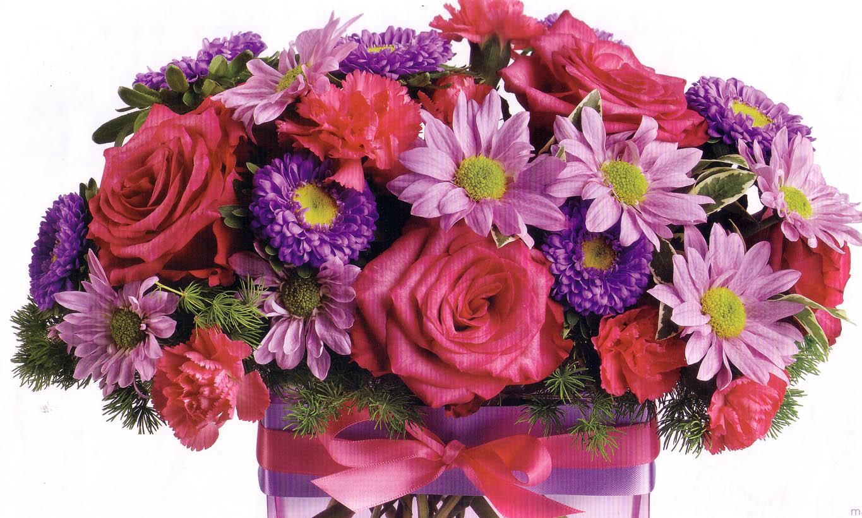 assortedflowerswiththeribbon